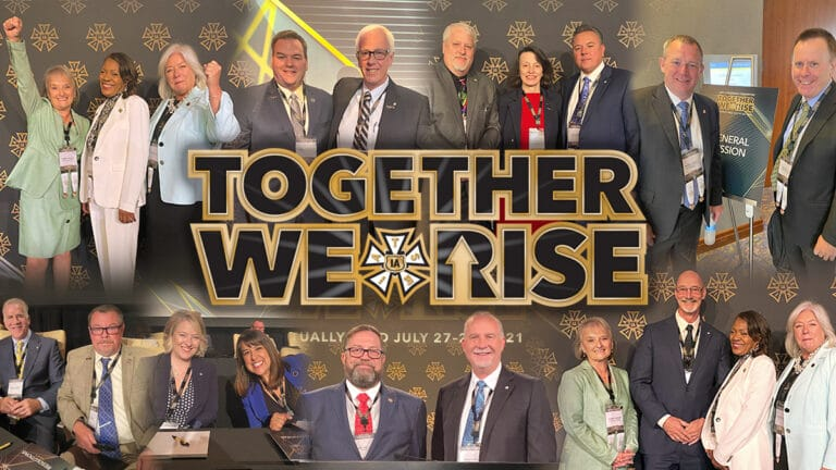 A collage of the re-elected officers of the IATSE