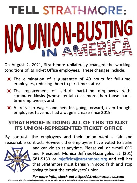 Tell Strathmore: No Union-Busting in America
